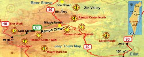 Jeep tours map guide Ramon Crater and Zin Valley Negev Desert Israel